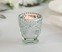 Set of 6 Metallic Silver Glass Votive Candle Holders